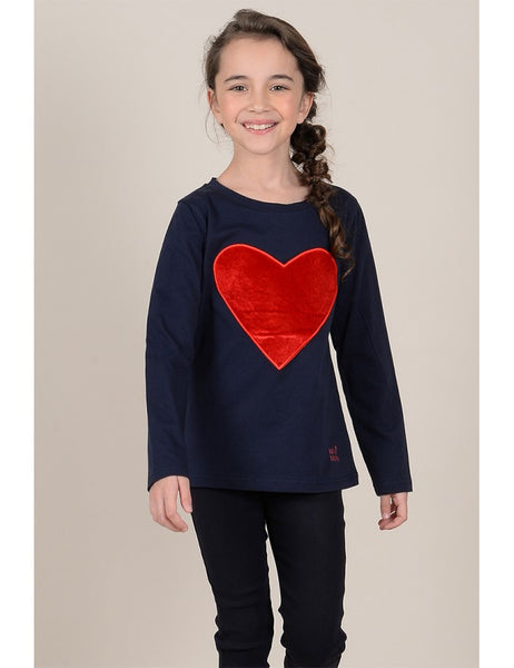 Long Sleeve Navy Tee w/ Red Heart