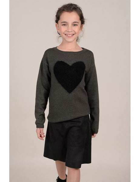 Knitted Khaki Sweater w/ Black Heart (with Mommy & Me option)