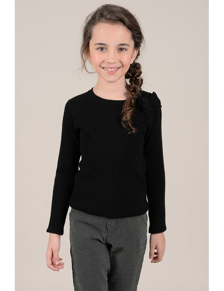Knitted Crew Neck Sweater - Black w/ Bow (Mommy & Me option)