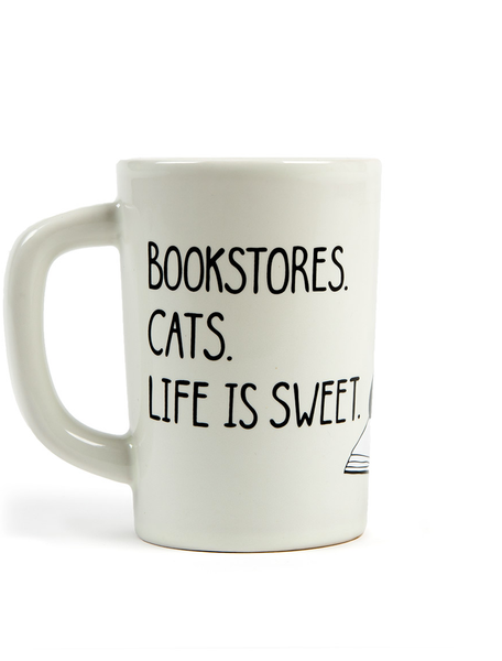 White Mug, With Black Lettering, Bookstores, Cats, Life Is Sweet
