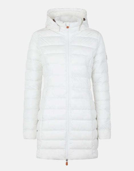 STD Sold Stretch Coat with Detachable Hood - White