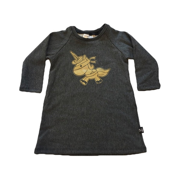 Gold Unicorn Sweater Dress - Charcoal