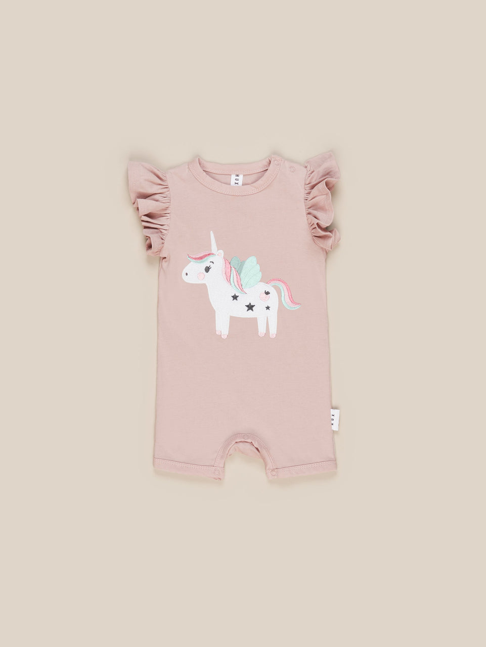 Unicorn Short Frill Romper - Blush