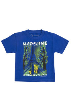 Kids Tee, Blue, With Madeline in White Lettering, Featuring the Classic Cover Art
