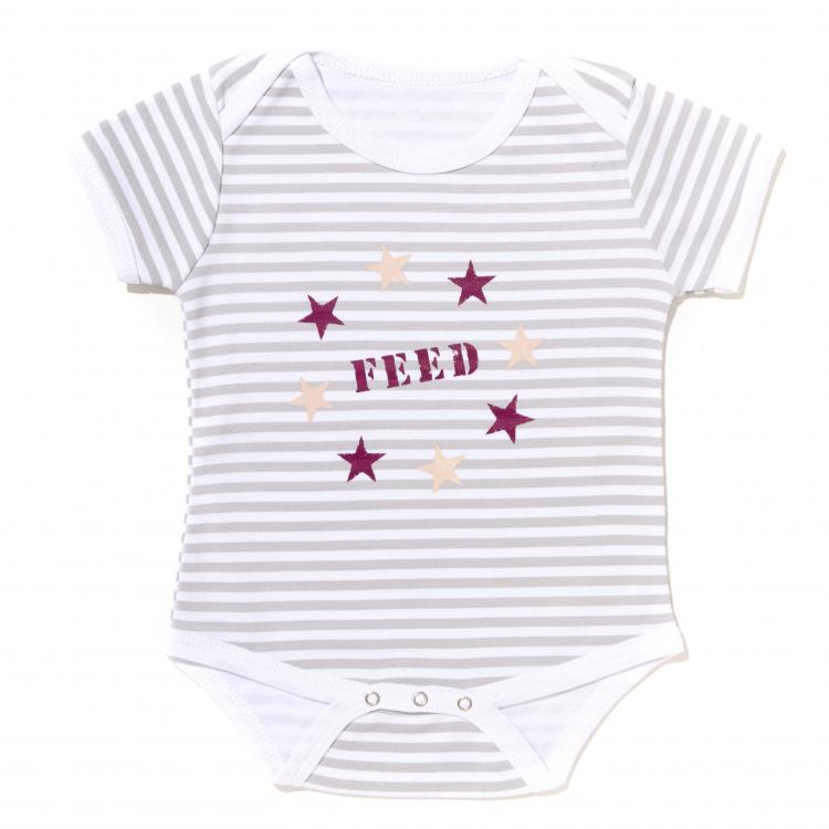 Striped Star Onesie - Grey/White