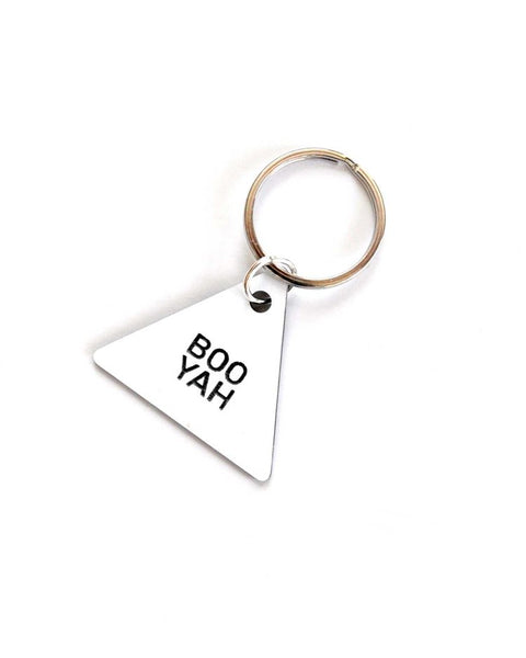 BOO YAH Triangle Key Ring - White