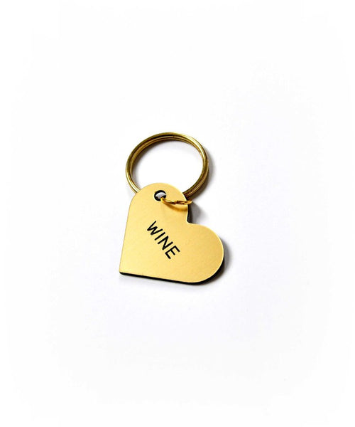 Wine Heart Key Ring - Gold