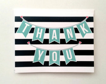 Striped Card with Thank You banner - Message - Thank You