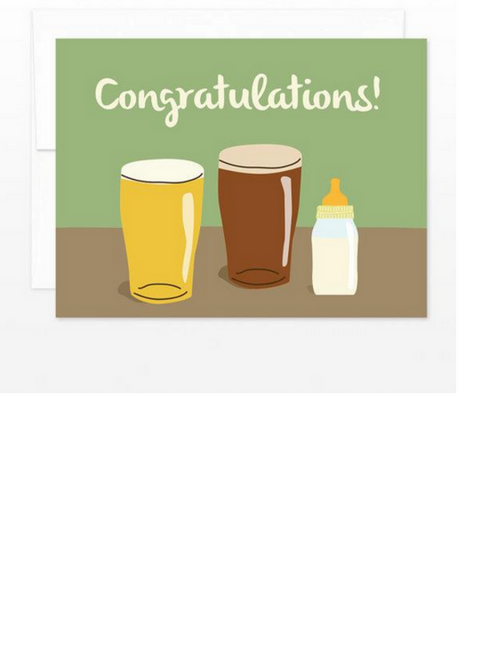 Pints + Bottle - New Baby Card