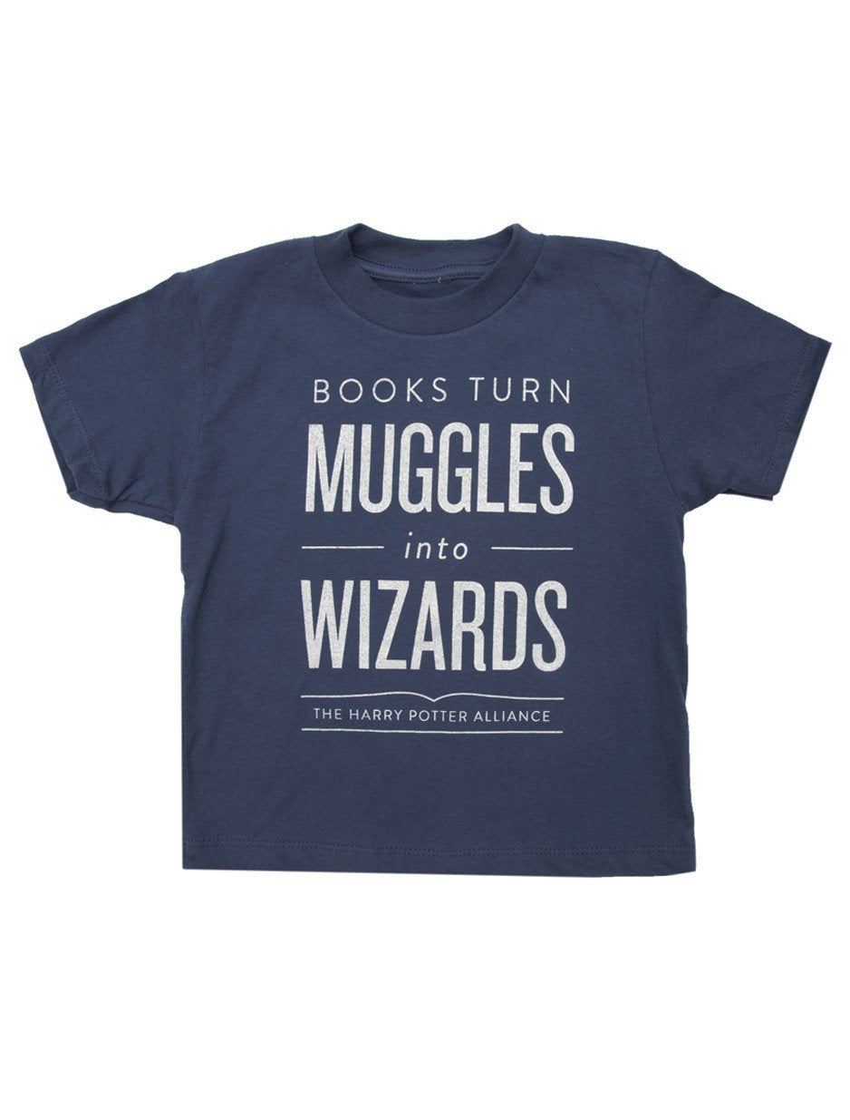 Blue Kids Tee, Harry Potter Themed, Books Turn Muggles Into Wizards In White Lettering