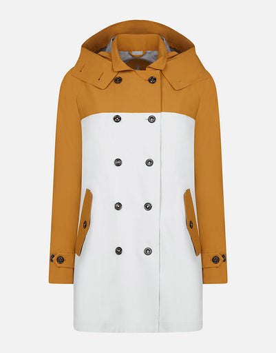 Double-Breasted Grin Coat - Honey Brown/White