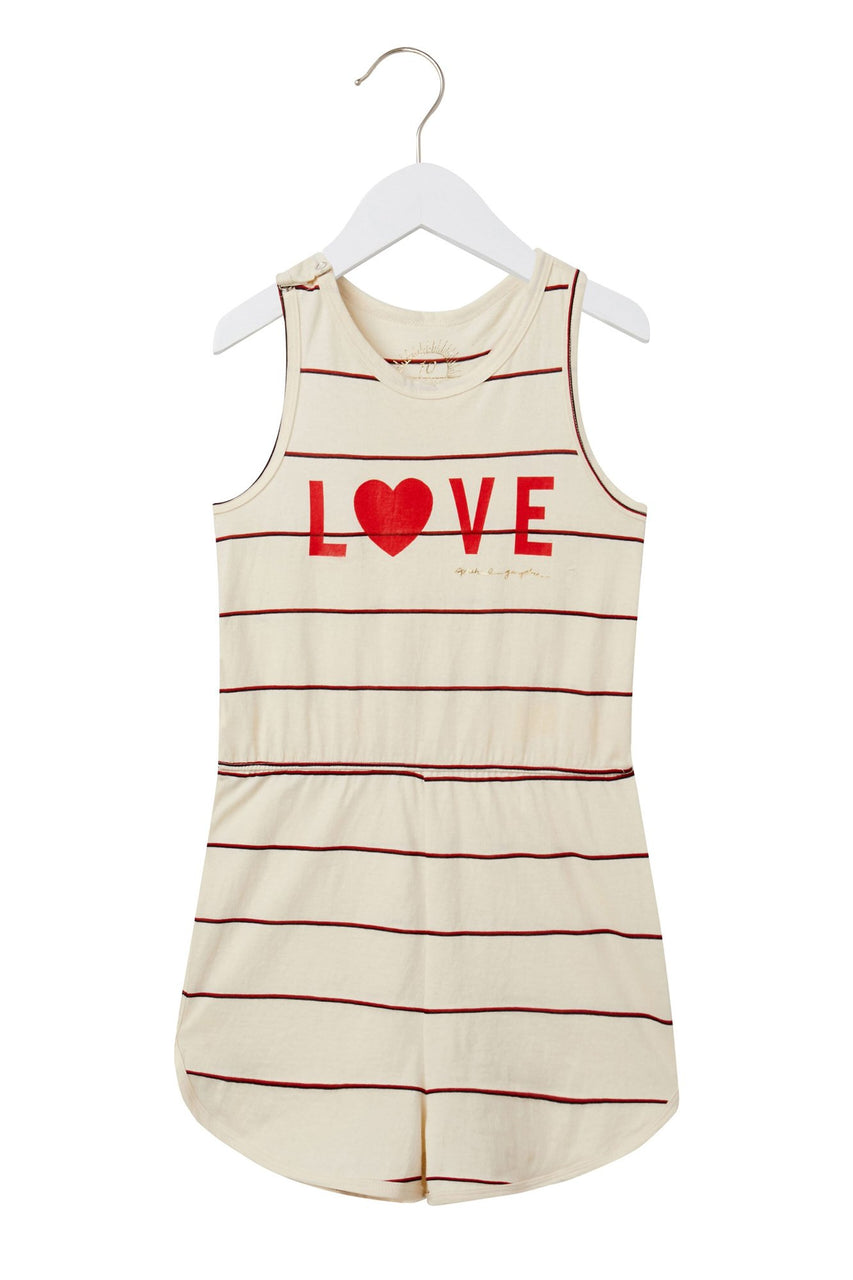 Love Girls Flutter Romper - Tulip/Navy Stripe