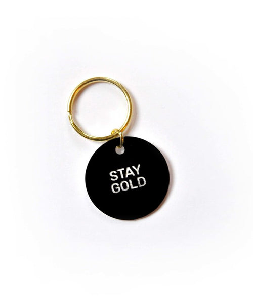 Stay Gold Circle Key Ring - Black