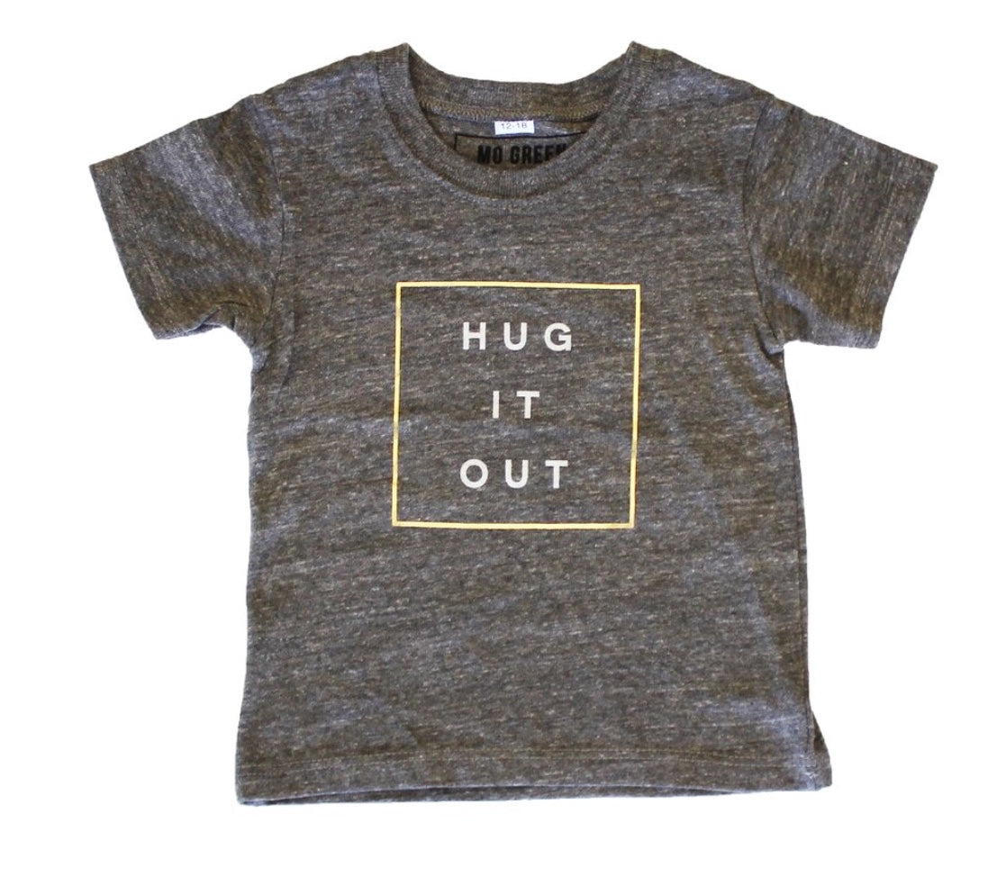 Grey Kids Tee, Middle Square With Hug It Out Written in White lettering