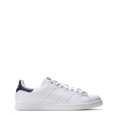 Adidas -StanSmith Shoes - White with Navy Blue Back - Carbon Crown Apparel