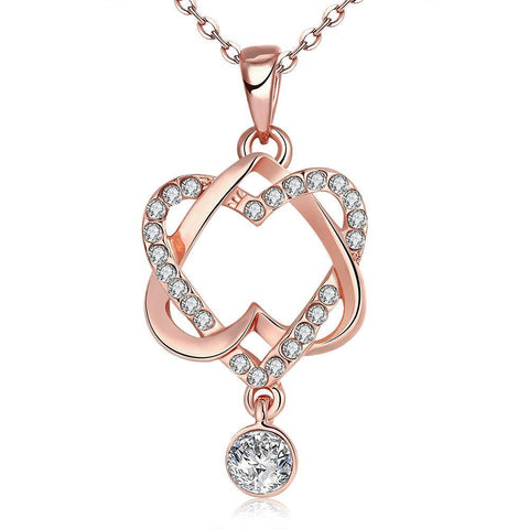 Swarovski Crystal 18K Rose Plated Intertwined Hearts Necklace - Carbon Crown Apparel