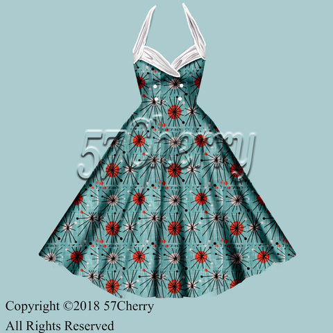Atomic Print Rockabilly dress
