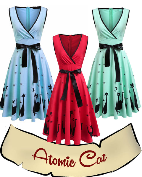 Pinup Atomic Cat Dress