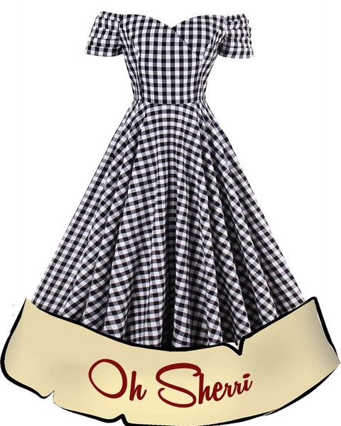 Black and White Gingham Swing Dress