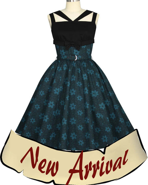 Rockabilly Retro Fall Floral Pinup Dress