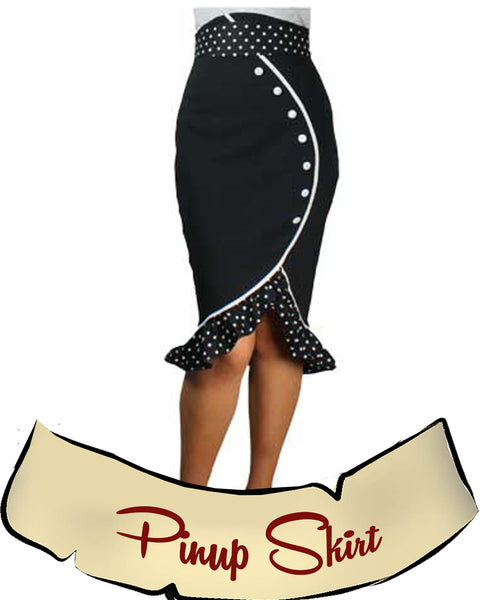 Sexy Pinup Pencil Polka Dot Ruffled Skirt