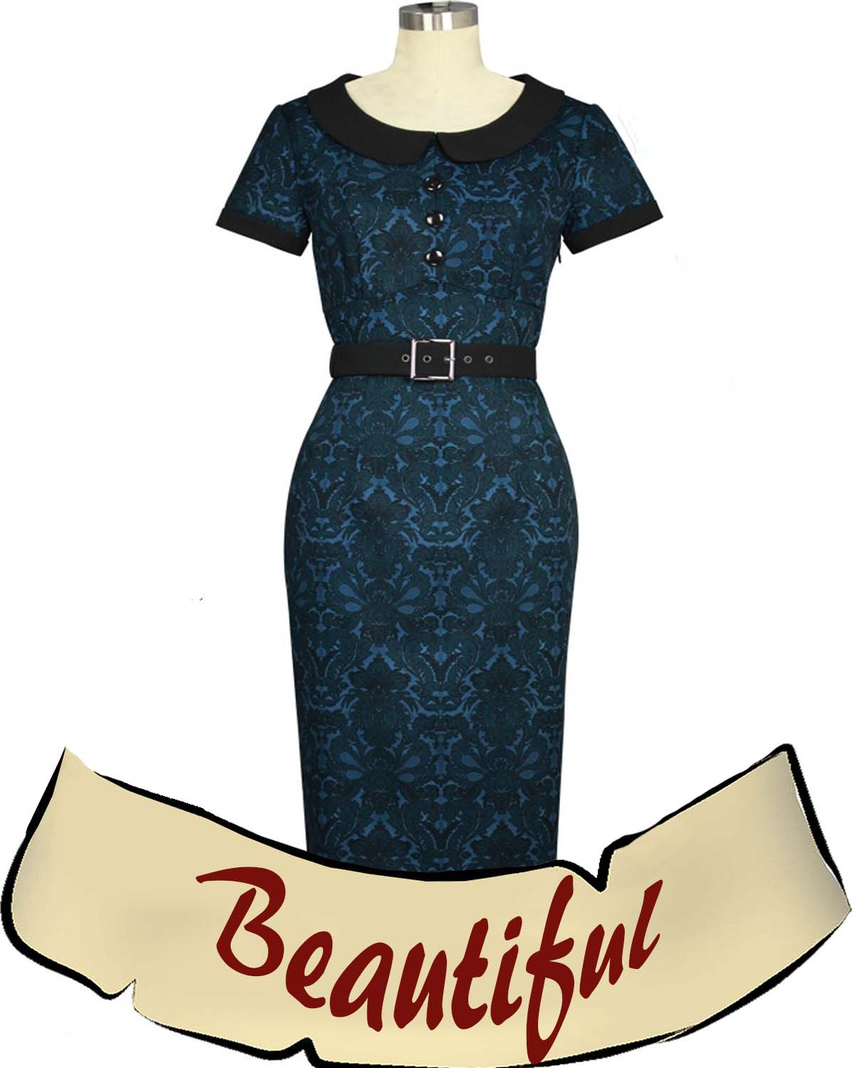 Gorgeous Steel Blue and Black Pinup Dress - True Plus Size Available