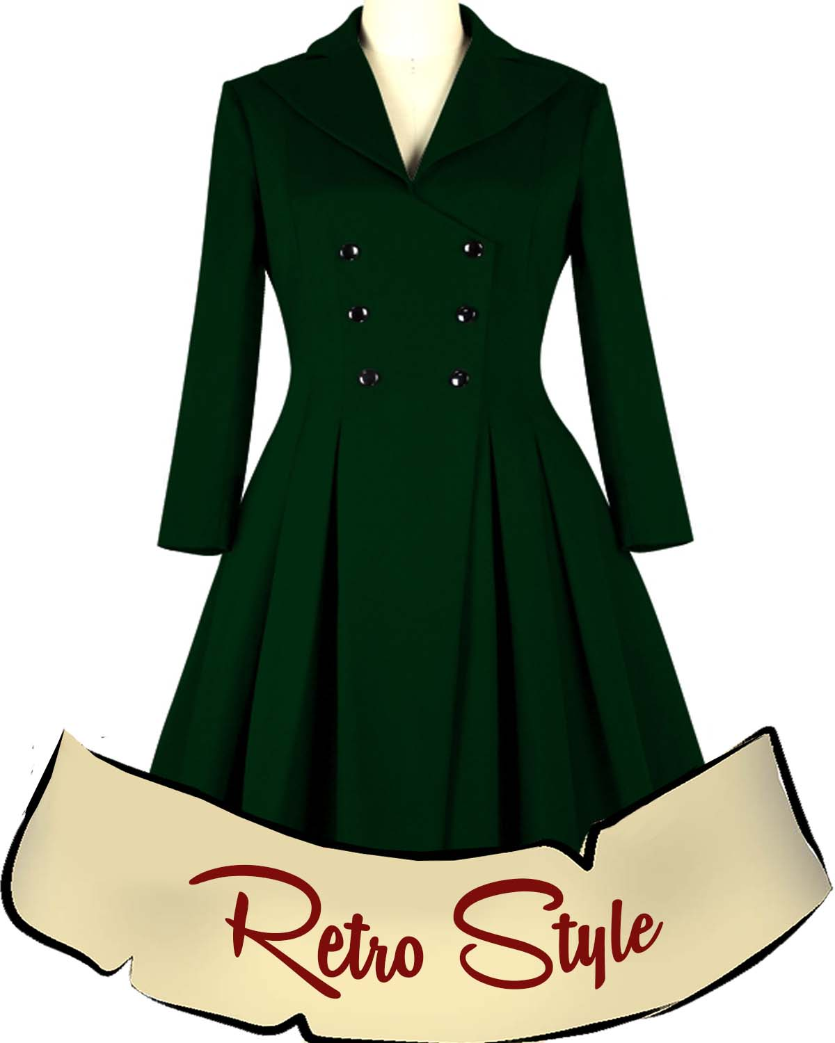 1950s Retro Double Breasted Coat - 3 colors