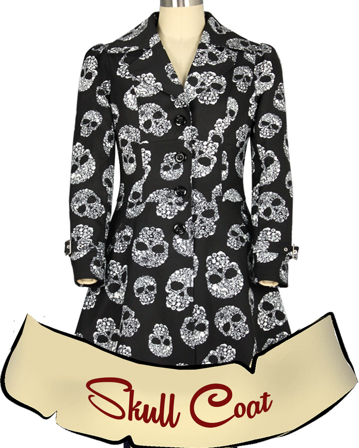 Black and White Skull Trench Coat