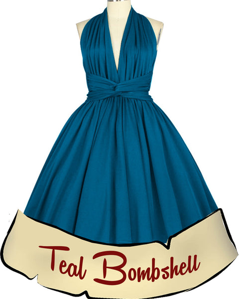 Teal Bombshell Marilyn Pinup Dress
