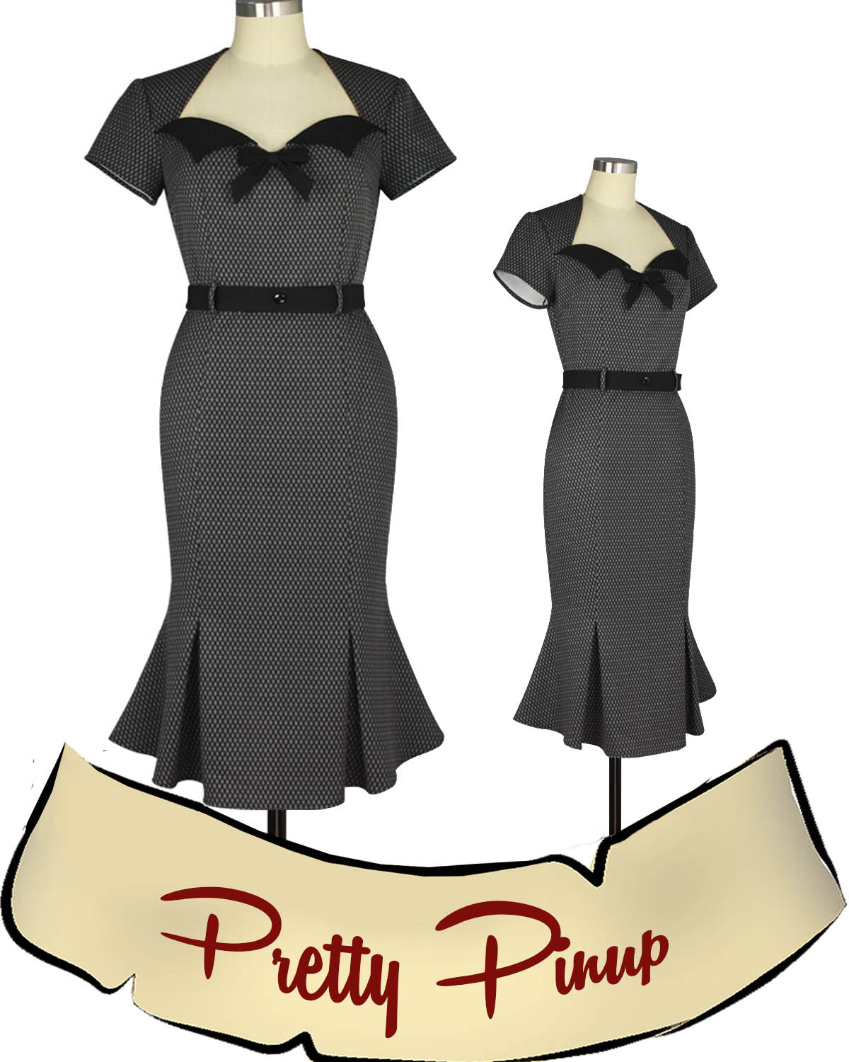 Pretty Little Pinup Dress in Gray
