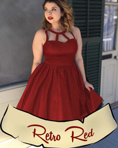 Retro Red Plus Size Pinup Dress