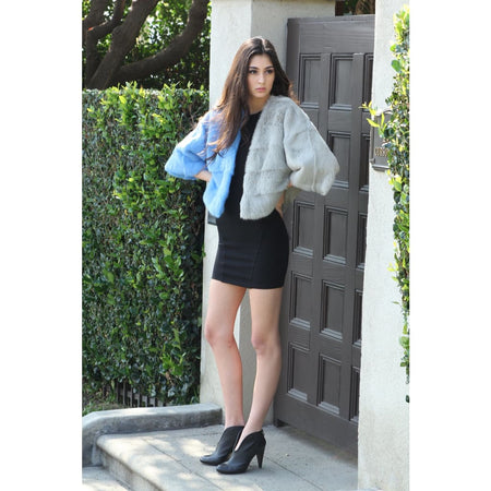 Blue-Silver Fur Jacket - Coats & Jackets