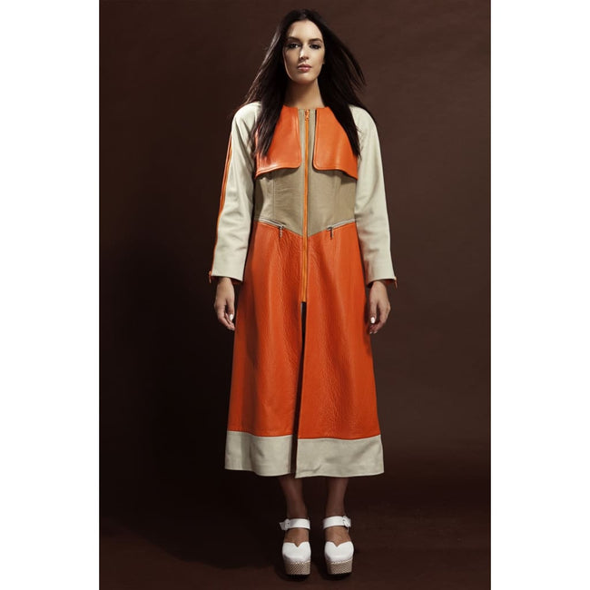 Color Block Leather Coat - Designers Signature - Coats & Jackets