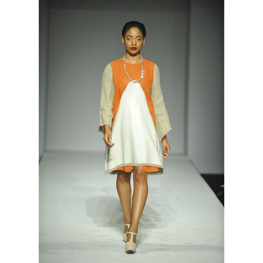 Color Block Linen-Leather Dress - Dresses