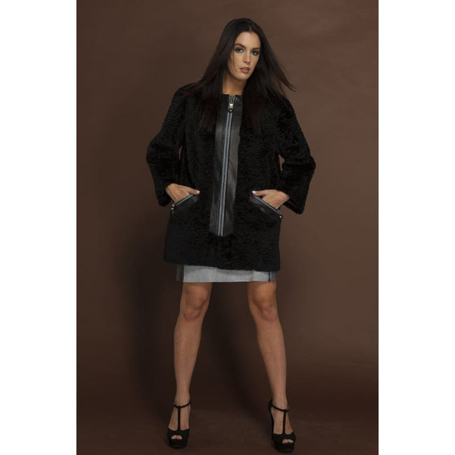 Fur Coat with Decorative Zippers - Coats & Jackets
