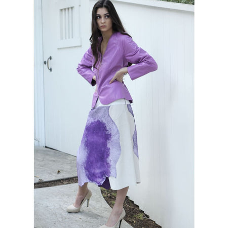 Purple Tattered Hem Skirt - Skirts