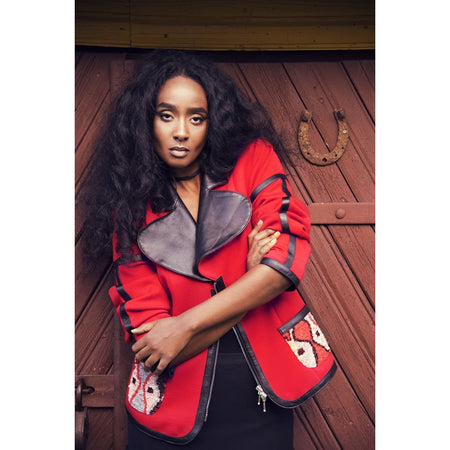 Red jersey-leather trims jacket - Coats & Jackets