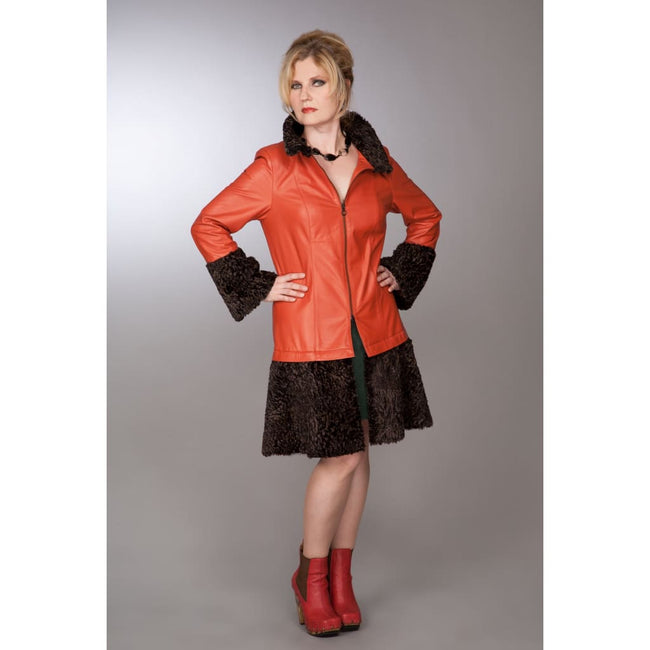 Retro Burnt Orange Leather Coat - Coats & Jackets