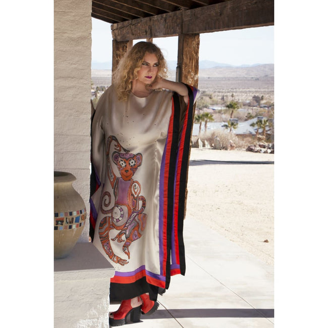 Silk Charmeuse Monkey Caftan Dress - Dresses