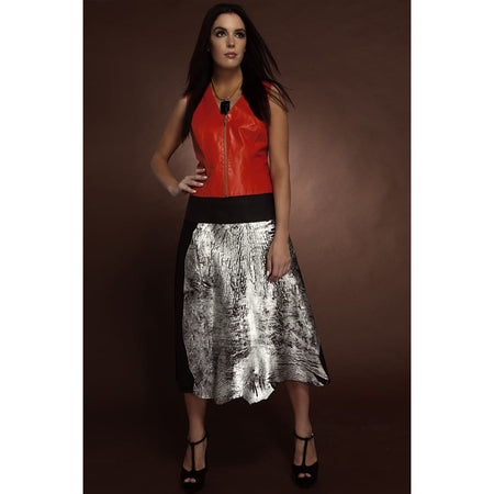 Silver-Black Tattered Hem Leather-Jersey Skirt - Skirts
