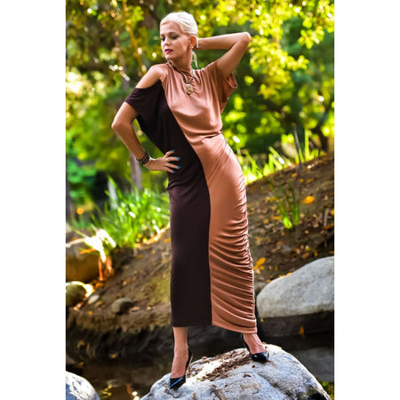 Stretched Pure Silk Asymmetrical Dress - Dresses