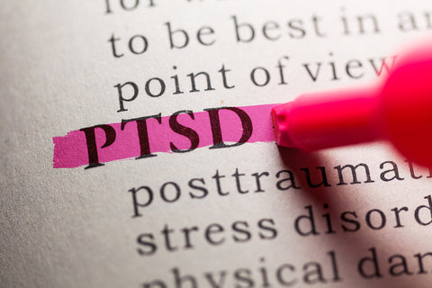closeup shot of dictionary definition of PTSD.