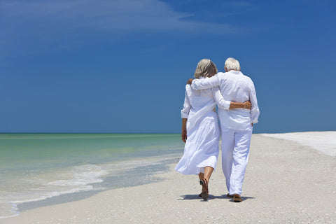 photo of elderly couple walking along beach.