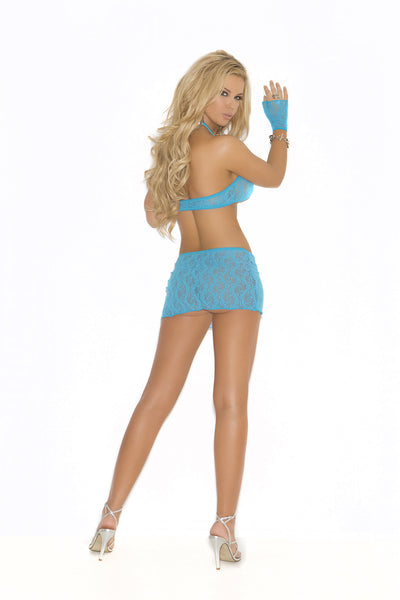 Lace cami top with keyhole front, mini skirt and matching gloves set.