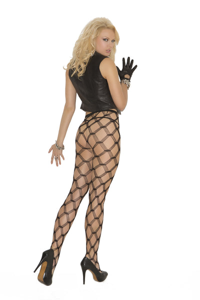 Seamless diamond lace pantyhose.