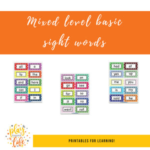 Mixed Level Basic Sight Words