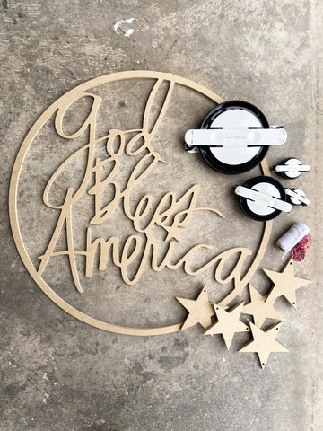 God Bless America Hoop Kit  - Unfinished