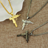 18k Gold Plated UZI Gun Pendant & Necklace