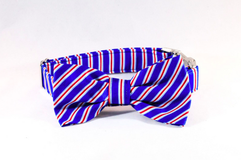patriotic stripes dog bow tie collar
