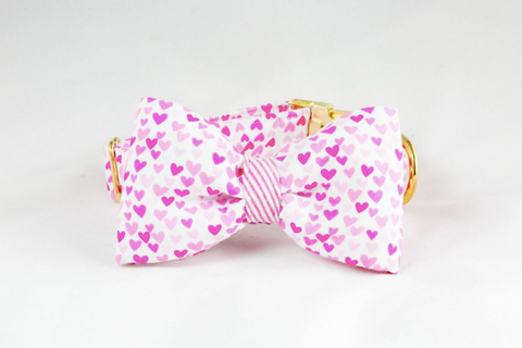 Pink Hearts and Seersucker Dog Bow Tie Collar